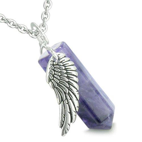 BestAmulets Angel Wing Archangel Raphael Magic Wand Crystal Point Purple Quartz Pendant 18 Inch Necklace