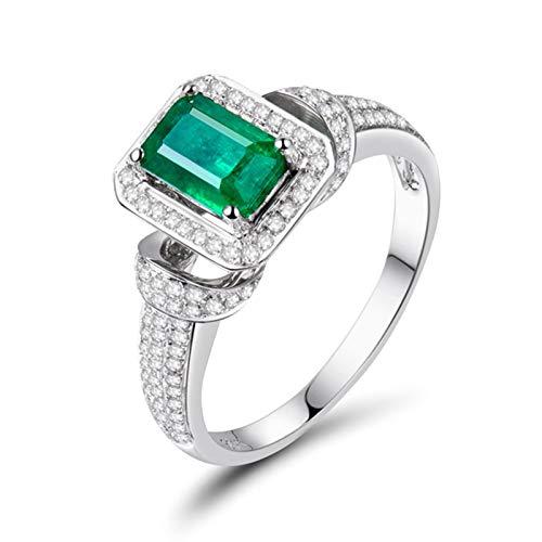 Aimsie Mujer Unisex AU750 oro blanco 18 quilates (750) Radiant verde Emerald