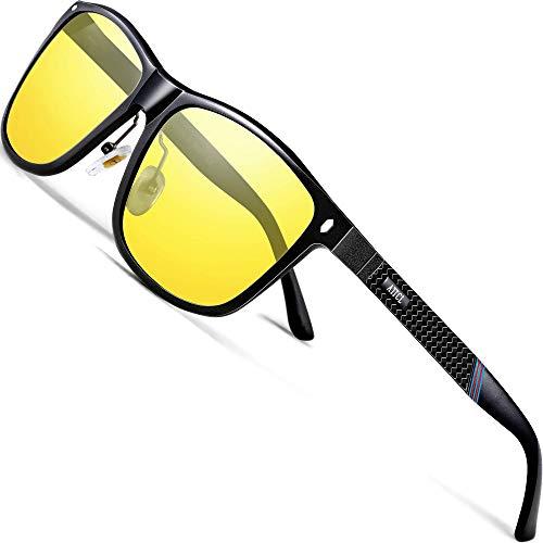 ATTCL Herren Nachtfahrbrille Nachtsichtbrille Autofahren Treiber Glasses Rechteckig Metallrahme Ultra Leicht 7001 Night Vision