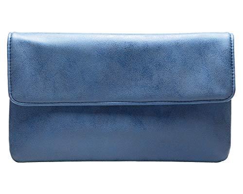 cecilia&bens Damen Clutch in Jeans Blau | kleine Handtasche aus weichem Kunstleder mit Druckknopf &...