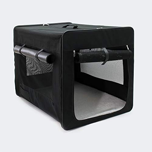 Wiltec Faltbare Transportbox für Haustiere, Größe XL (94x66x74 cm), mit herausnehmbarem Einlagekissen