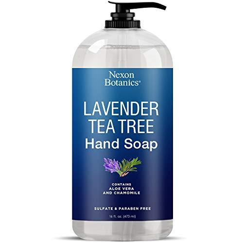 Lavender Tea Tree Hand Soap 16 fl oz - Liquid Hand Wash with Pure Aloe Vera and Chamomile - Moisturizing Hand Wash with Pump from Nexon Botanics