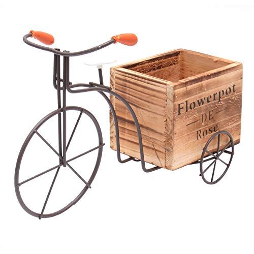 Cabilock Fahrrad-Blumentopf, rustikal, für Pflanzen, Garten, Außen- und Innendekoration (weiß, große Größe, zufälliger Stil), Holz, groß weiß, 28X11cm
