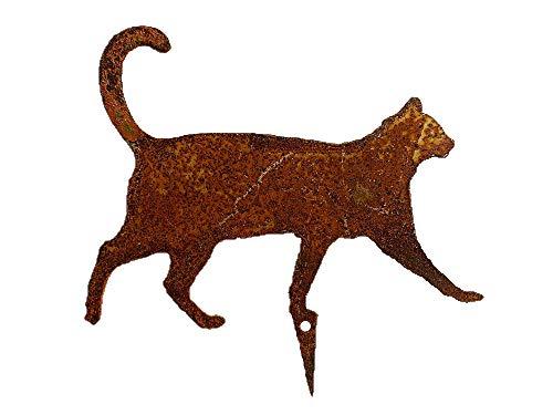 Gartenstecker Mini Katze gehend im Rost Design, Rostfigur für den Garten, Gartendeko, Metalldeko