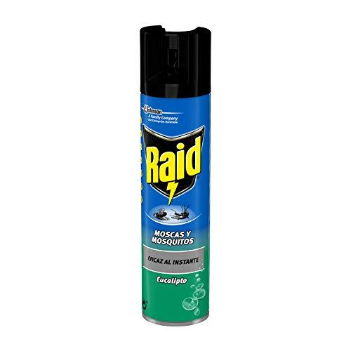 Raid Spray Insecticida - Aerosol para Moscas y Mosquitos, Eucalipto. Eficacia Inmediata, Incoloro, 600Mililitros