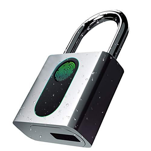 ZHHAOXINPA Sterke vingerafdruk hangslot Mini Smart hangslot Keyless USB opladen Biometrische High Security Lock voor Gym Locker, Shed Locker, Opslag units, Baggages Lichtgewicht, Zilver