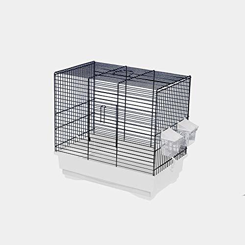 decorwelt Vogelkäfige XL Weiß Außenmaße 40x25,5x38,5 cm Urlaub Reisekäfig Zubehör Wellensittich Futternapf Kanarienkäfig Plastik Vogel Modell KS9