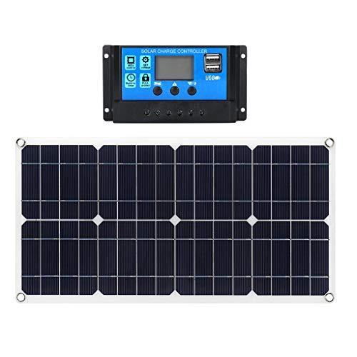 FLAMEER Pannello Solare 30w 12v Kit Flessibile per Sistema Solare Modulo Fotovoltaico Connettore Controller Cella 10a per Casa, Camper, Roulotte, Barca