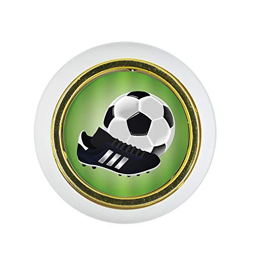 Möbelknopf Kunststoff Klein & Elegant KST03485W Weiss Sport Fußball Soccer Motiv - Kleine Universal Möbelknöpfe für Schrank, Schublade, Kommode, Tür, Küche, Bad, Haushalt Kinder Kinderzimmer