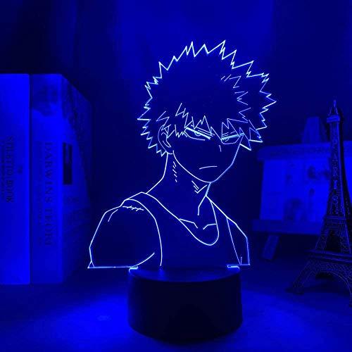 Lâmpada LED 3D Illusion Luz Noturna Usb Anime Quarto Decoração Aniversário Presente Manga Gadget My Hero Academia-16 cores com controle remoto