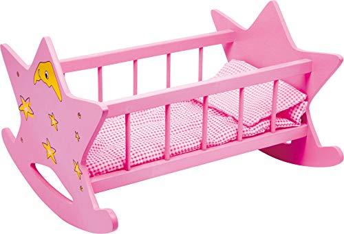 2865 Culla per bambole in legno Stella small foot, culla rosa con luna e stelle, culla per bambole fino a 45 cm, a partire da 3 anni