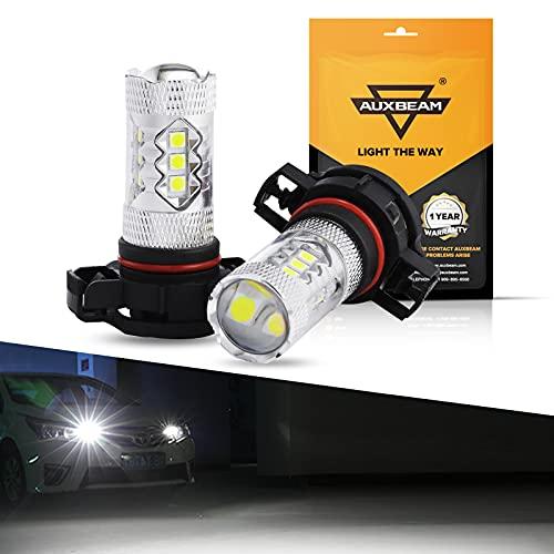 Auxbeam 5201 5202 LED Fog Light Bulbs Super Bright H16 LED Bulb High Power 50W 12V LED 9009 5202 Bulb for Signal, Turn, Brake, Parking, Tail, DRL Fog Lights, Bright White (Set of 2)