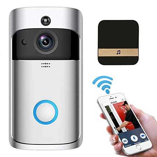 Campanello video wireless WiFi, 720P HD Smart IP Videocitofono WI-FI Videocitofono Campanello per porte WIFI Campanello Telecamera per appartamenti IR...