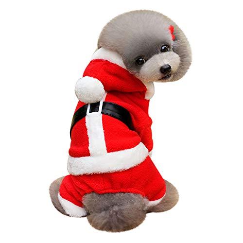 Amphia Haustier Kostüm - Hundekleidung, Kleidung, Geburtstag, Alter Mann,Weihnachtsdekoration Haustier Hund Katze Winter warme Mantel Kostüm Bekleidung(Rot,L)