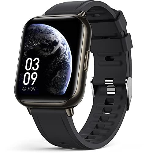 AGPTEK Reloj Inteligente, 1.69'' Smartwatch Deportivo Impermeable IP68 con SpO2 Oxígeno en Sangre Monitor de Frecuencia Cardíaca, Sueño Podómetro y Calorías para Hombre y Mujer, Negro