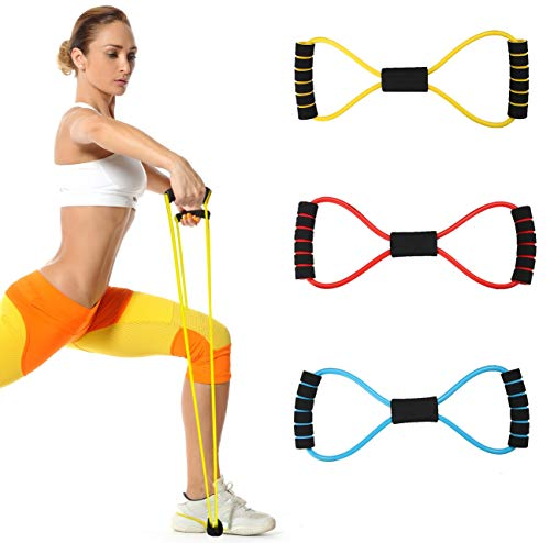Atenia Figure 8 Fitness Resistance Band with Handles, Pure Barre Workout Chest Arm and Shoulder Stretch Bands Exercise Equipment
