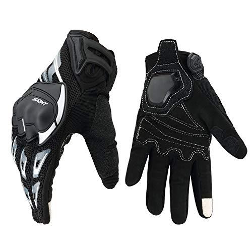 Guantes Moto Verano Táctil Transpirable Pantalla, Guantes Exteriores Protección para Carreras de Motos, ATV, MTB, Racing Motocross, Ciclismo y Otros Deportes al Aire Libre - L