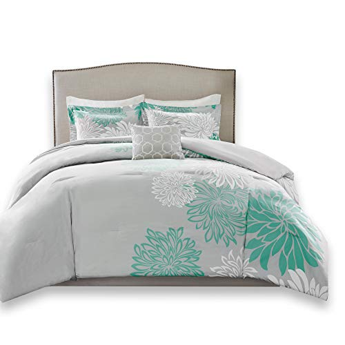 Comfort Spaces Enya 5 Piece Comforter Set Ultra Soft Hypoallergenic Microfiber Floral Print Bedding, Full/Queen, Aqua/Grey