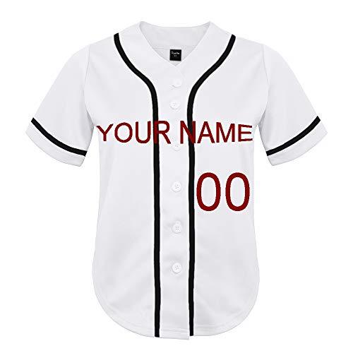 TopTie Personalisiertes Damen Baseball-Trikot, Jugendteam Sportbekleidung, Shirt, weiß, schwarz, M