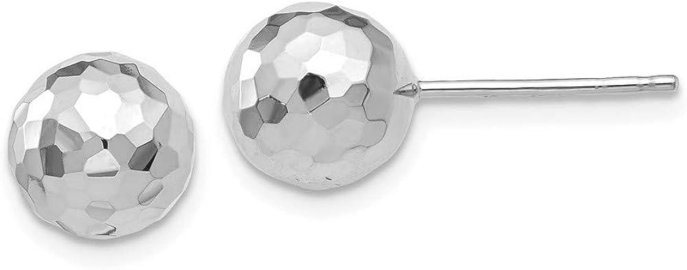 Roy Rose Jewelry 14K White Gold Polished Diamond Cut 8mm Ball Post Earrings