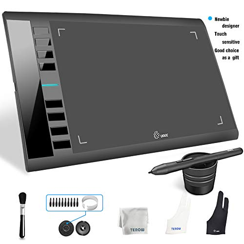 UGEE M708 Graphics Tablet, 10 x 6 inch Large Active Area Drawing Tablet with 8...