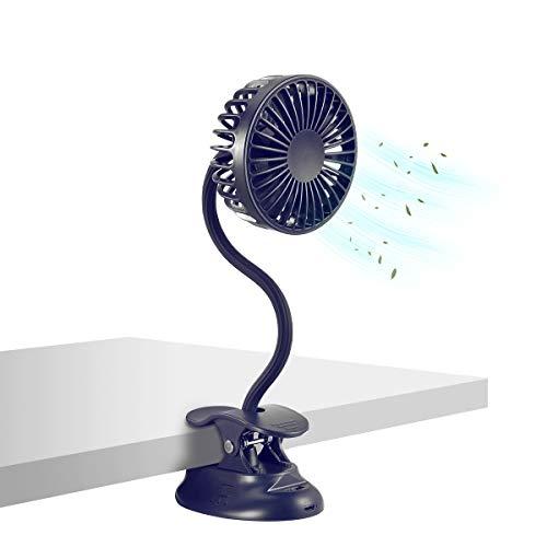Clip on Fan Usb Fan mini Fan Battery Operated Desk Fan with Emergency Power Bank, USB Clip Fan Rechargeable Personal Fan Flexible Neck 3 Speeds Great for Beach Car Camping Dorm Bed Office-Navy Blue