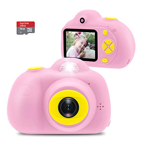 Veroyi Kids Camera with 16GB Micro SD Card 8MP Rechargeable Digital Front and Rear Selfie Camera with 2 Inches Screen Child Camcorder Toys for 4-10 Years Old Boys and Girls (Pink)