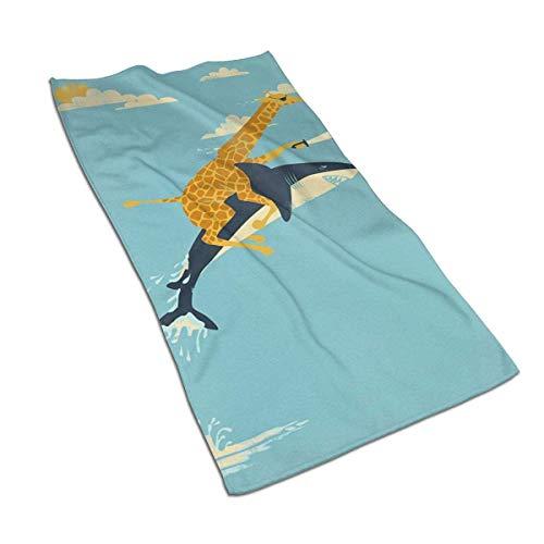 U/K Toallas de mano jirafa equitación tiburón toalla de baño, ultra suave, altamente absorbente, toalla de baño pequeña decoración