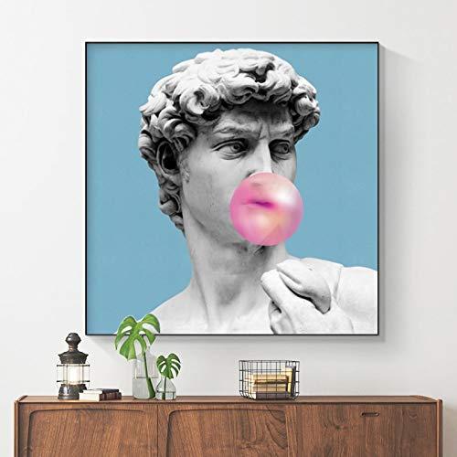 wZUN Imagen Que sopla Burbujas de Color Rosa sobre Lienzo Pintura decoración de la Sala de Estar Arte de la Pared impresión Escultura impresión 60x60 Sin Marco