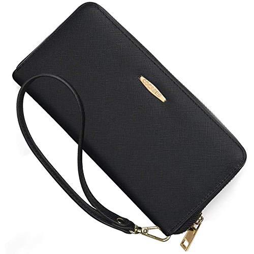 COCASES XXL Damen Geldbörse Portemonnaie Geräumiges Geldbeutel Weiches Portmnee schickes Clutch mit RFID Schutz und Schlaufe (Schwarz-Innen)