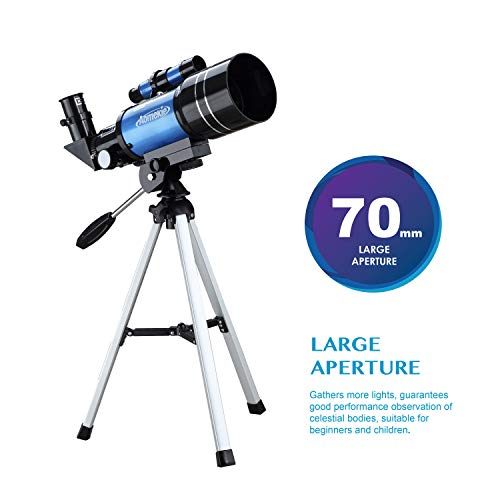 Aomekie Telescope for Kids Adults Astronomy Beginners 70mm Refractor Telescopes with Tripod Phone Adapter Finderscope 1.5X Erecting Eyepiece 3X Barlow Lens
