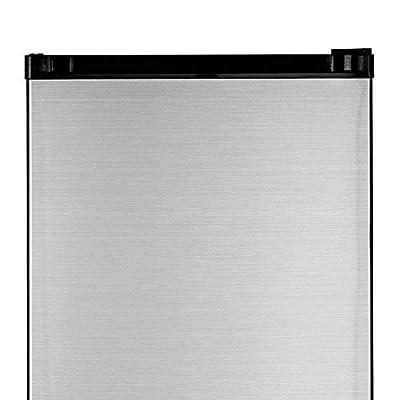 GE GME04GLKLB CleanSteel Compact Refrigerator, 4.4 Cu Ft, Clean Steel