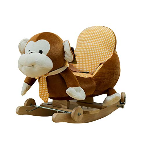 Cheap Baby Rocking Horse Monkey Rocking Horse Stuffed Horse Children's Plush Interactive Standing Ri...
