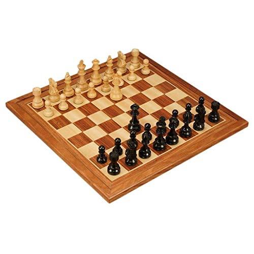 Juego de ajedrez Ébano Boj Pieza de ajedrez hecha a mano Juego de ajedrez de viaje portátil Fácil de adaptar Juegos para adultos Competitivo Profesional Bo (Ejercicio de pensamiento intelectual)