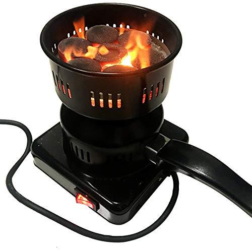 HJGHY Juego de Iniciación de Carbón Shisha Multiusos, Quemador Eléctrico de Fuego para Barbacoa, Revestimiento de Acero Inoxidable, Tecnología de Calentamiento Rápido para Cachimba,220V