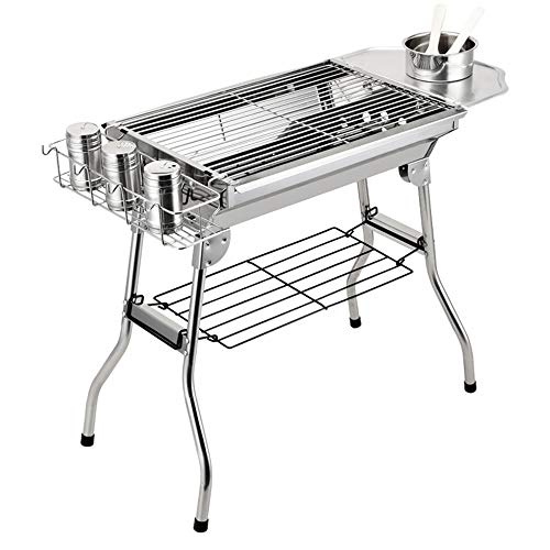 BHB-AY Stainless Steel BBQ, Folding Portable Barbecue Grill, Charcoal Grill 48 * 33.5 * 57 Cm, Picnic, Camping, Outdoor Barbecue (5-10 People)