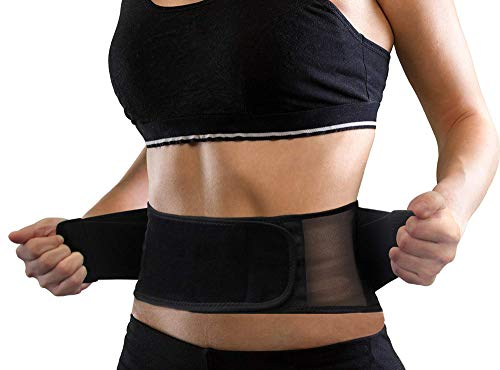 Lightweight Back Brace for Men & Women Under Uniform, Dual Medical 3D Lumbar Pads for Lower Back Pain Relief, Breathable Mesh with Adjustable Stapes for Back Stress - XS/S