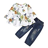 WonderBabe Little Girls Pants Set Baby Outfit Jeans Strappati Maglietta Floreale Manica Lu...