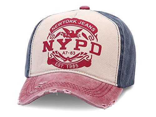 Cappellino con Visiera | Berretto da Baseball | Uomo | Donna | Cotone | Stile Trucker | Jeans | Slavato | Taglia Unica per Adulti | Vintage, Blu Rosso