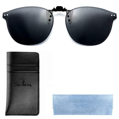 CREYESTAL Polarisiert Clip auf Sonnenbrillen, Sonnenbrille Aufsatz, Anhebbar und Ultraleicht, Herren, Damen 100{90dedbb694dd6784676225588bc044a6541cdd1f51c9f9e4baf6dcfb7221b00f} UV400, CE Zertifiziert