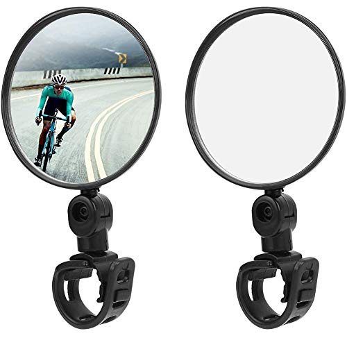 HUYIWEI Espejo retrovisor para bicicleta, espejo retrovisor de 2 piezas, espejo giratorio de 360 grados del manillar de bicicleta de montaña.