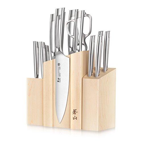 Cangshan TN1 Series 1021967 Swedish Sandvik 14C28N Steel Forged 14-Piece DENALI Magnetic Knife Block Set, Maple