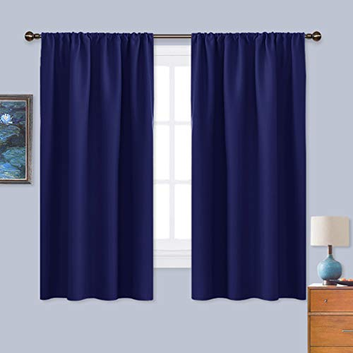 NICETOWN Royal Navy Blue Curtains Blackout Draperies - Home Fashion Thermal Insulated Solid Drape Panels for Kid's Room, Privacy Window Dressing (1 Pair, 42-Inch x 45-Inch)