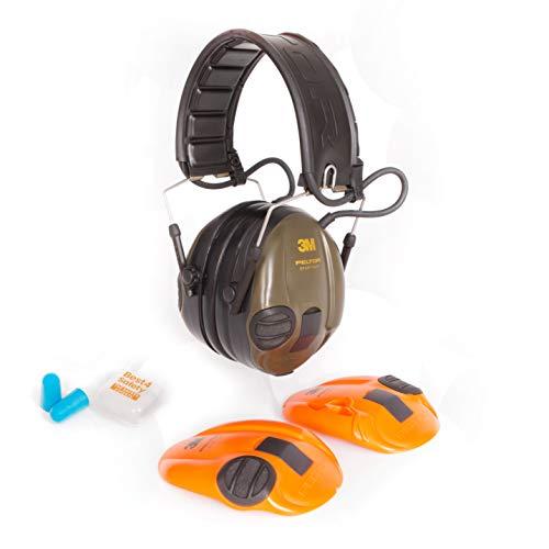 3M Peltor Sporttac Protectores auditivos electrónicos | SNR 26db | Tazas de colores intercambiables | Incluye tapones protectores para los oídos para su compañero