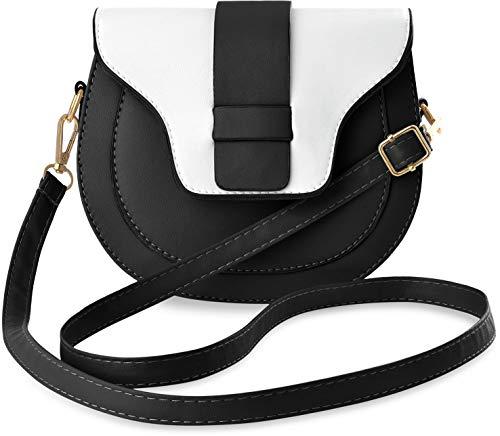 kleine halbrunde Schultertasche Clutch zweifarbig Retro Style schwarz weiß