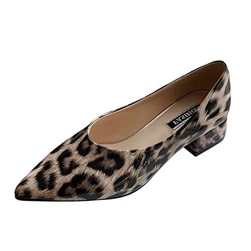 YEBIRAL Damen Flach Pumps Spitze Zehen mit Chic Lackleder Leopard Flach Mund Arbeit Schuhe Schlupf Halbschuhe Blockabsatz Sexy Arbeitsschuhe Party Schuhe(36 EU,Khaki)