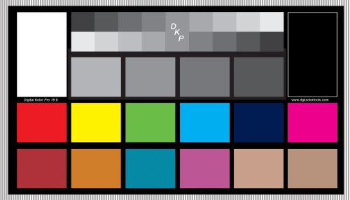 DGK Digital Kolor Pro 16:9 Chart - Set of 2 Large Color Calibration and Video Chip Charts / 18% Gray White Balance Cards