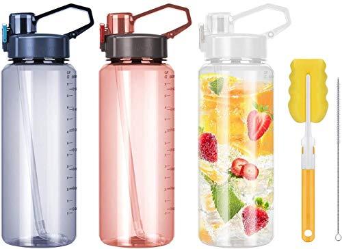 Botella de agua de 2 litros con pajita, grandes botellas de agua deportivas, libre de Bpa, jarra de agua reutilizable con asa, botella de agua a prueba de fugas con tapa de bloqueo, transparente