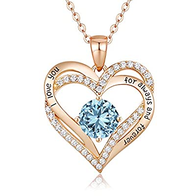CDE Forever Love Heart Women Necklace 925 Sterling Silver Rose Gold Plated Birthstone Pendant Necklaces for Women with 5A Cubic Zirconia Valentine'sJewelry Gift Birthday Gift for Mom Women Wife Girls Her