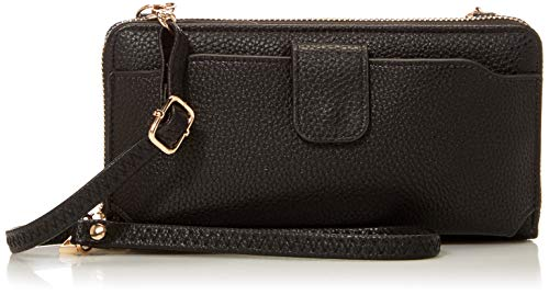 Amazon Essentials Wristlet Wallet with Cell Phone Holder Crossbody Bags Purse for Women Black